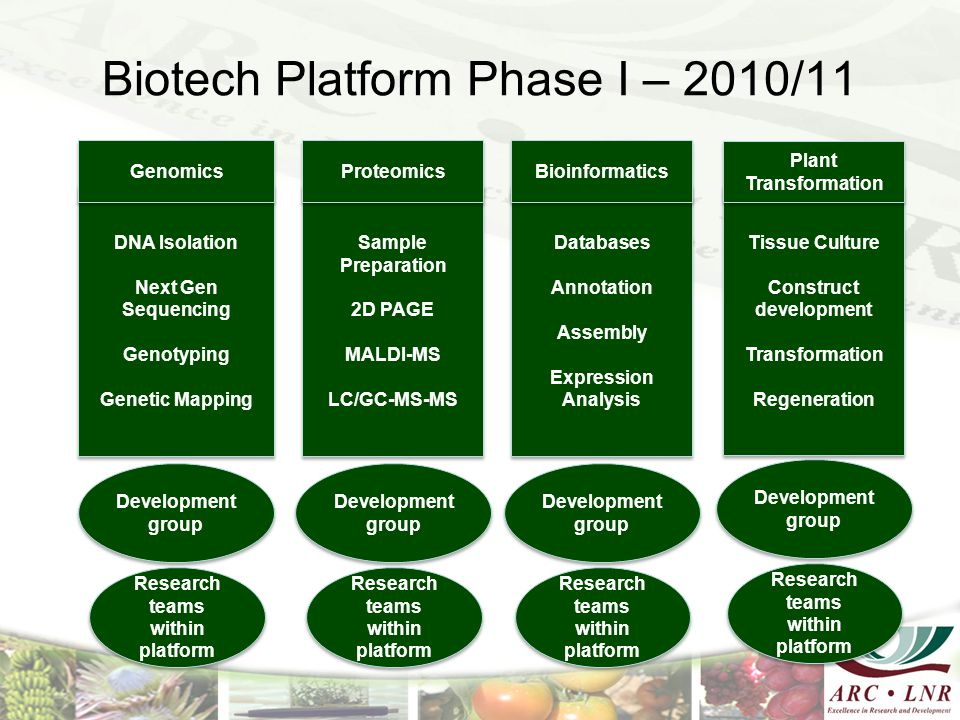 Biotech Platform Phase I – 2010/11 DNA Isolation Next Gen Sequencing Genotyping Genetic Mapping DNA Isolation Next Gen Sequencing Genotyping Genetic M