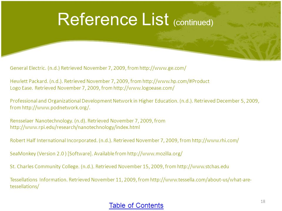 18 Reference List (continued) General Electric.