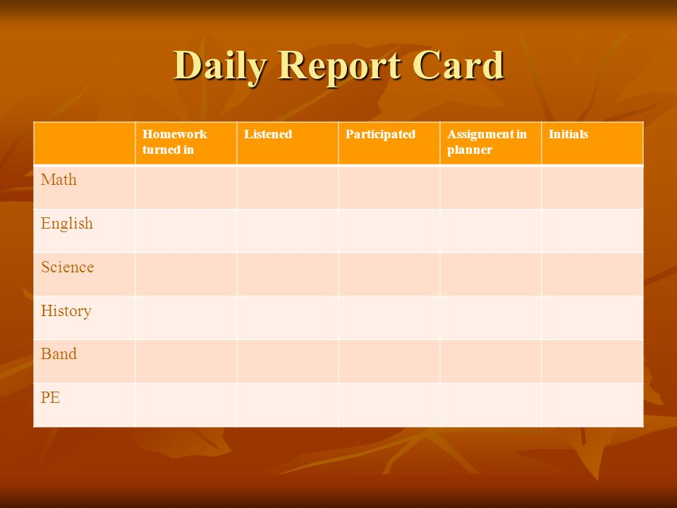 Daily Report Card Homework turned in ListenedParticipatedAssignment in planner Initials Math English Science History Band PE