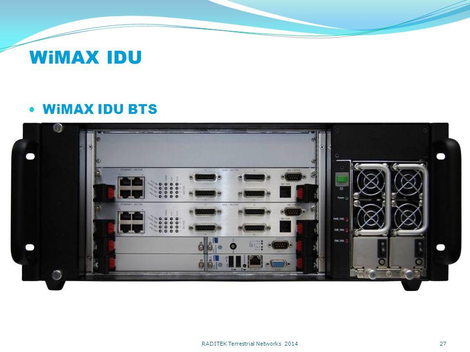 Indoor Unit 3 Sector Base Site without optional EMS, -48V GPS Power Uplink Card 120 o Grow to 3 base stations… WiMax EQUIPMENT 28 RADITEK Terrestrial Networks 2014