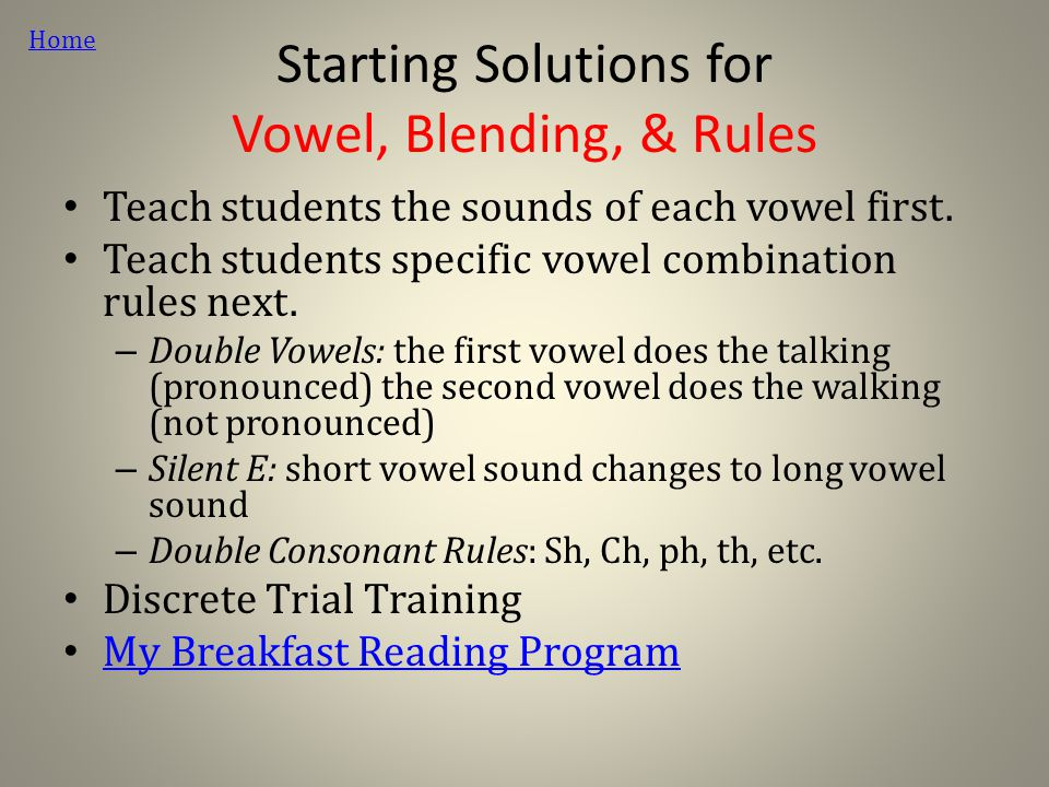 Starting Solutions for Vowel, Blending, & Rules Teach students the sounds of each vowel first.