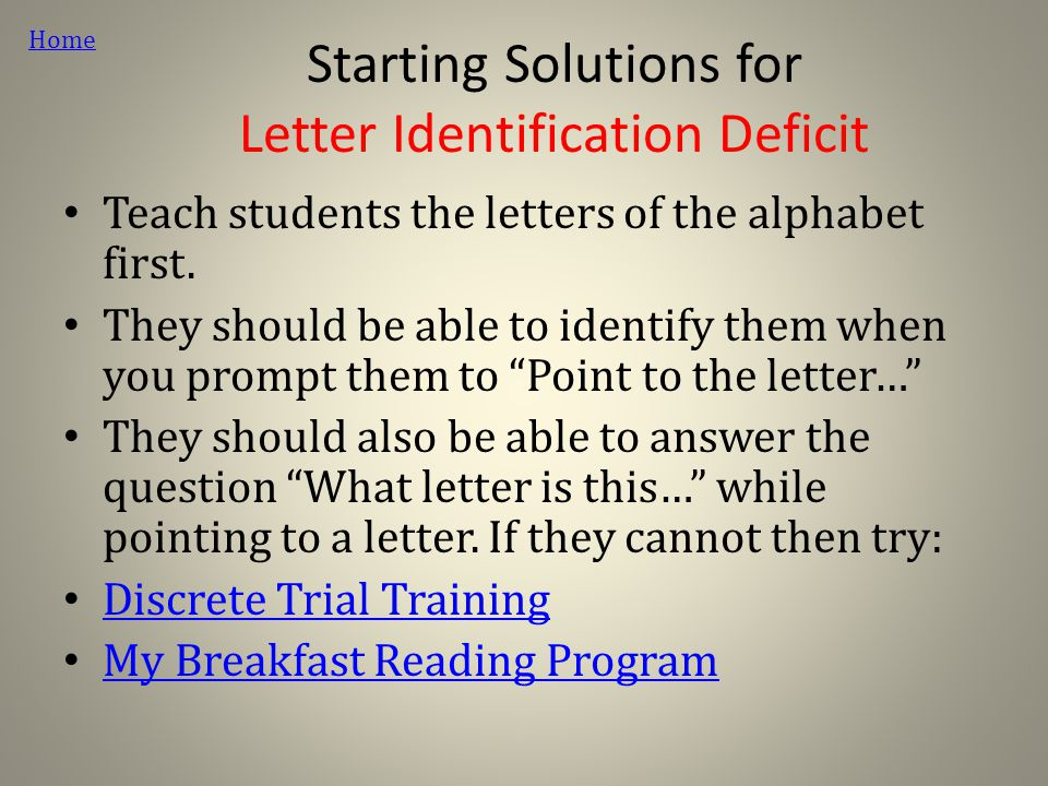 Starting Solutions for Letter Identification Deficit Teach students the letters of the alphabet first.
