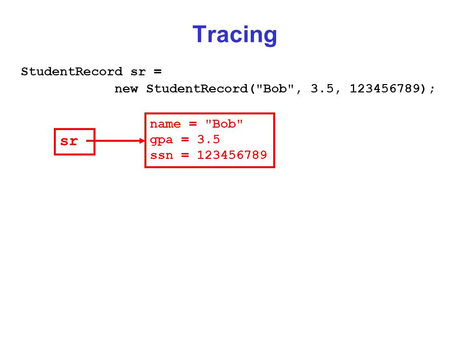 Tracing StudentRecord sr = new StudentRecord( Bob , 3.5, 123456789); name = Bob gpa = 3.5 ssn = 123456789 sr