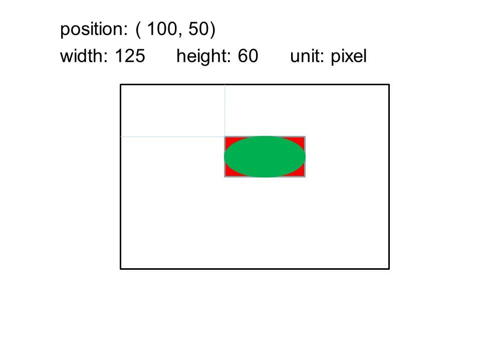 position: ( 100, 50) width: 125 height: 60 unit: pixel
