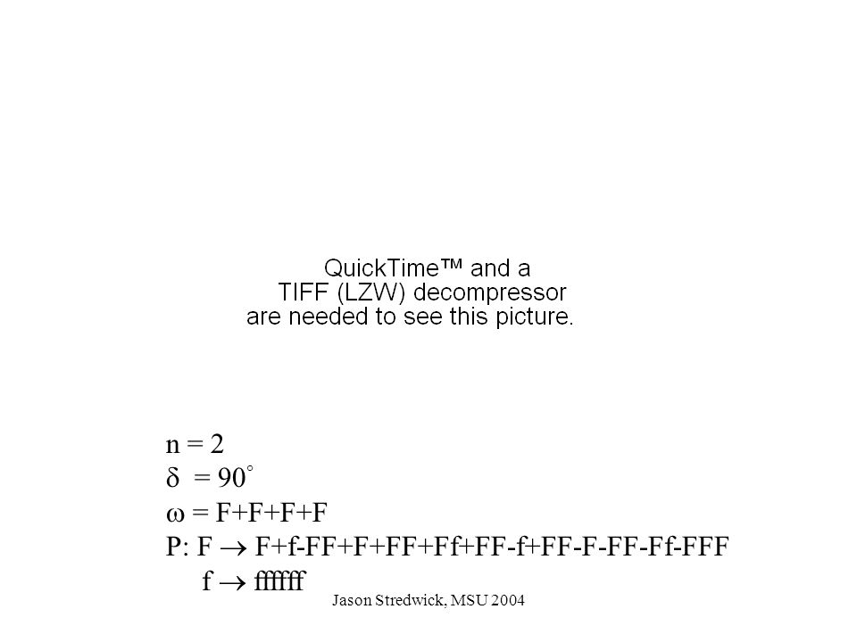 Jason Stredwick, MSU 2004 n = 2  = 90   = F+F+F+F P: F  F+f-FF+F+FF+Ff+FF-f+FF-F-FF-Ff-FFF f  ffffff