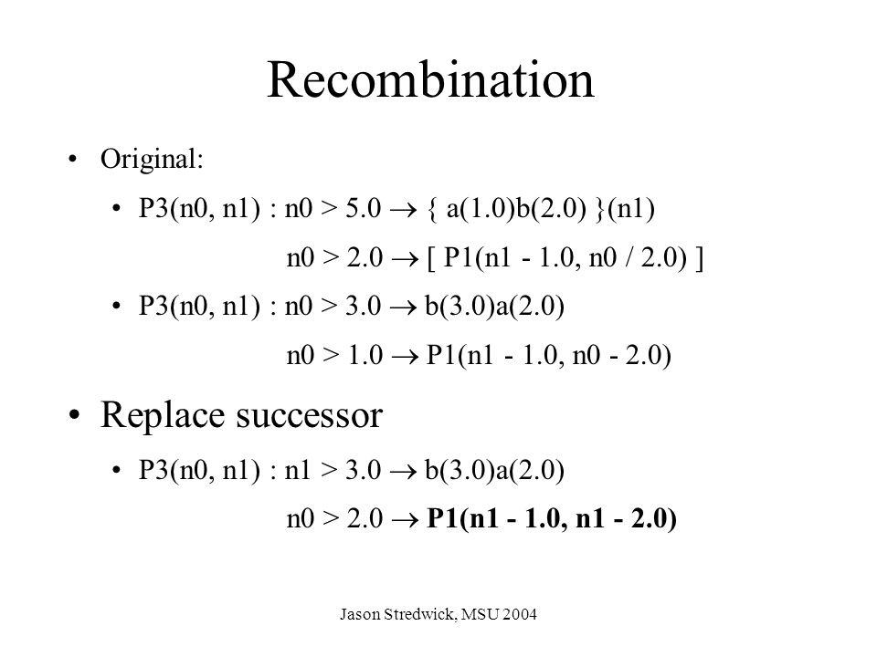 Jason Stredwick, MSU 2004 Recombination Original: P3(n0, n1) : n0 > 5.0  { a(1.0)b(2.0) }(n1) n0 > 2.0  [ P1(n1 - 1.0, n0 / 2.0) ] P3(n0, n1) : n0 > 3.0  b(3.0)a(2.0) n0 > 1.0  P1(n1 - 1.0, n0 - 2.0) Replace successor P3(n0, n1) : n1 > 3.0  b(3.0)a(2.0) n0 > 2.0  P1(n1 - 1.0, n1 - 2.0)