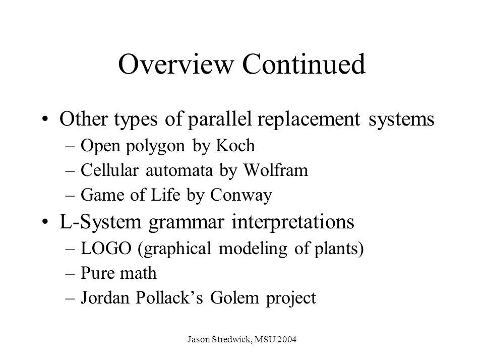 Jason Stredwick, MSU 2004 Neural Network Language decrease-weight(n) duplicate(n) increase-weight(n) loop(n) merge(n) next(n) output(n) parent(n) reverse(n) set-function(n)
