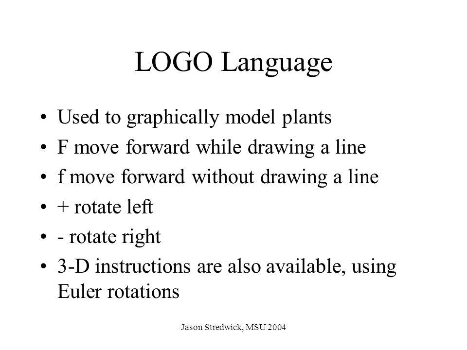 Jason Stredwick, MSU 2004 n = 4  = 90   = -F P: F  F+F-F-F+F n = 2  = 90   = F-F-F-F P: F  F+FF-FF-F-F+F+F