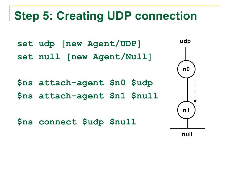 Step 5: Creating UDP connection set udp [new Agent/UDP] set null [new Agent/Null] $ns attach-agent $n0 $udp $ns attach-agent $n1 $null $ns connect $udp $null n1 n0 udp null