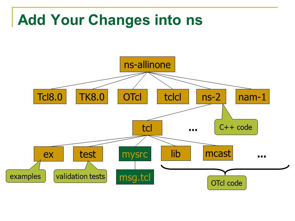 Add Your Changes into ns TK8.0OTcltclclTcl8.0ns-2nam-1 tcl extest lib...