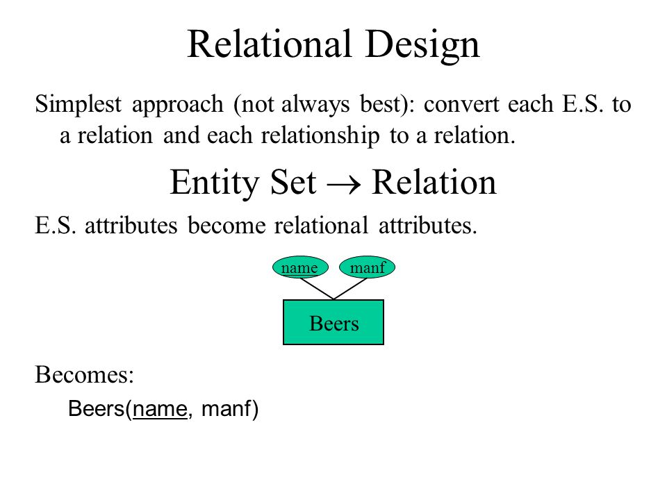 Relational Design Simplest approach (not always best): convert each E.S.