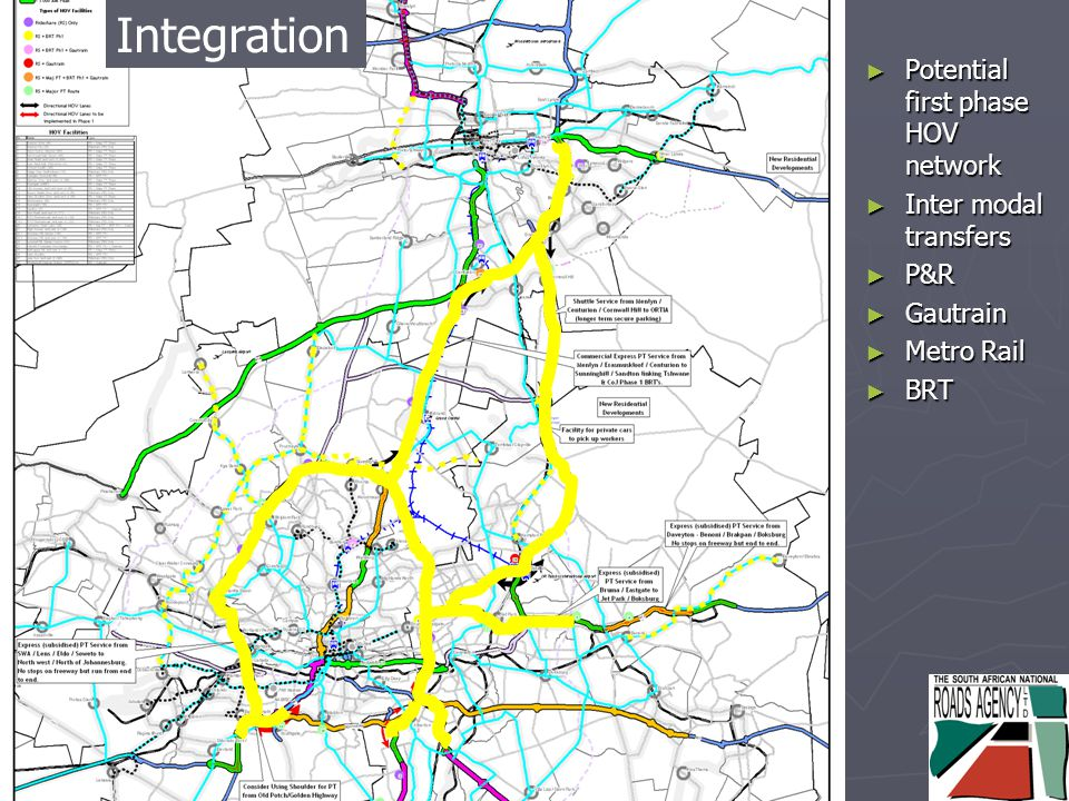 Integrated Solution ► Potential first phase HOV network ► Inter modal transfers ► P&R ► Gautrain ► Metro Rail ► BRT Integration