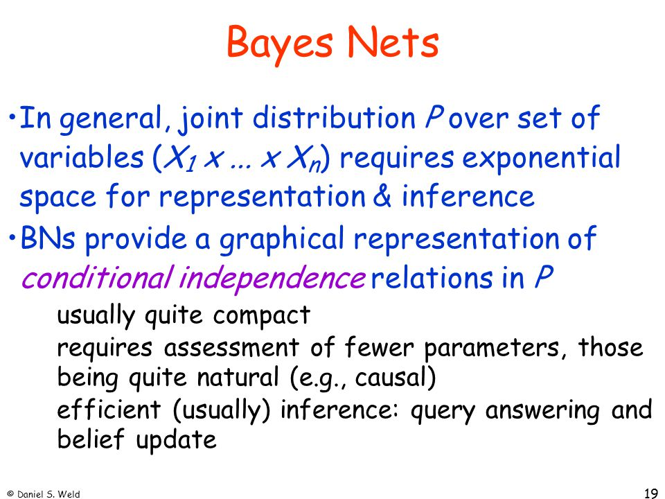 © Daniel S. Weld 19 Bayes Nets In general, joint distribution P over set of variables (X 1 x...