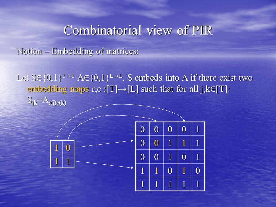 Combinatorial view of PIR Notion – Embedding of matrices: Let S ∈ {0,1} T ╳ T A ∈ {0,1} L ╳ L.