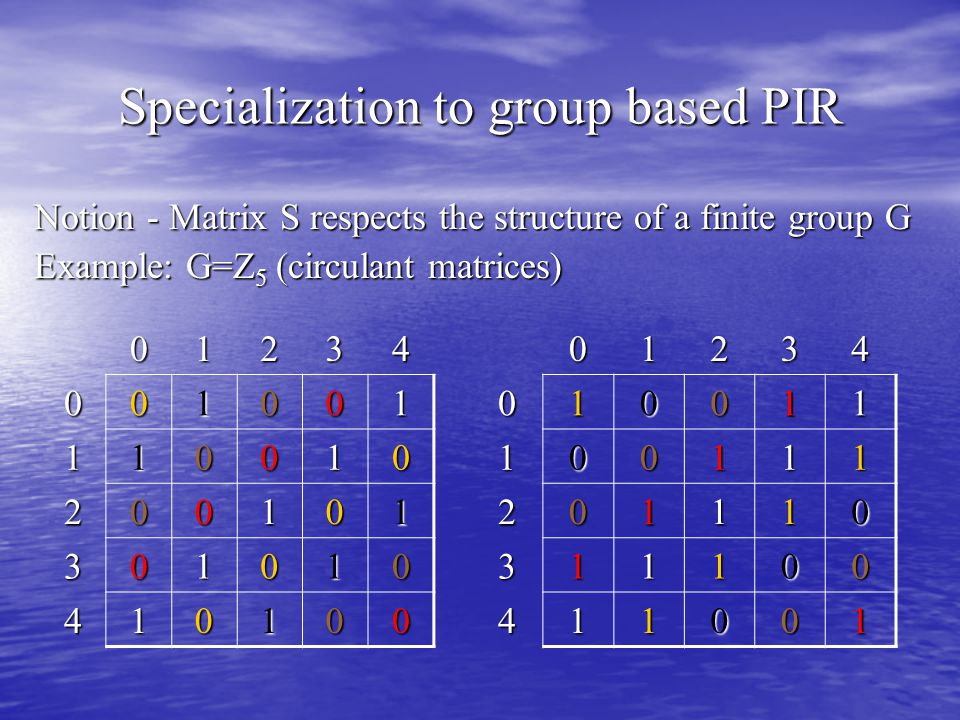 Specialization to group based PIR Notion - Matrix S respects the structure of a finite group G Example: G=Z 5 (circulant matrices) 01234 001001 110010 200101 301010 41010001234010011 100111 201110 311100 411001