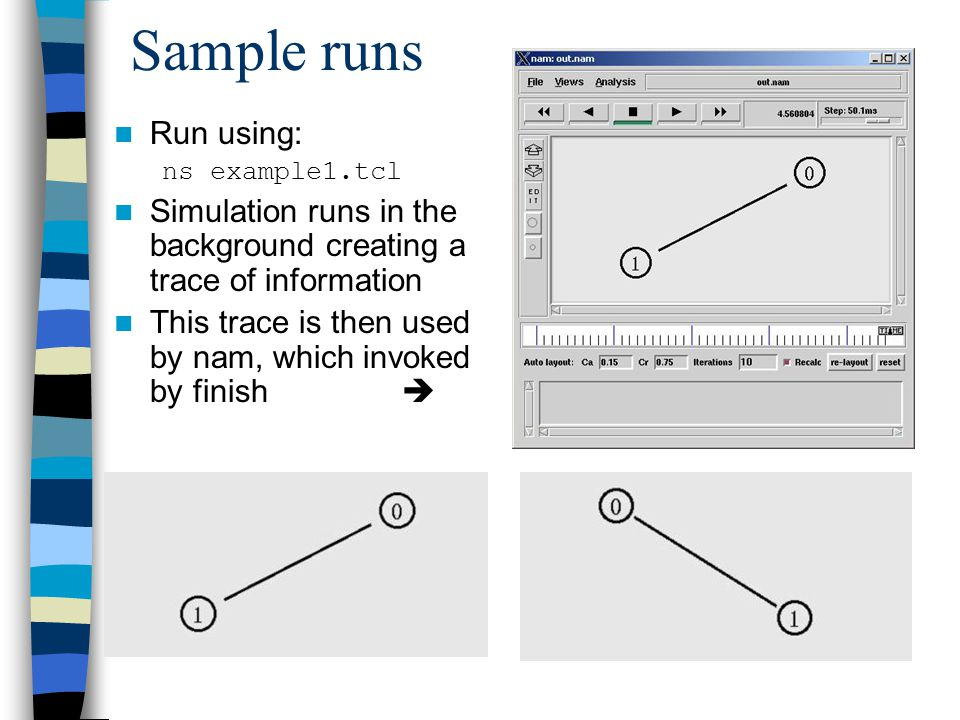 Sample runs Run using: ns example1.tcl Simulation runs in the background creating a trace of information This trace is then used by nam, which invoked by finish 