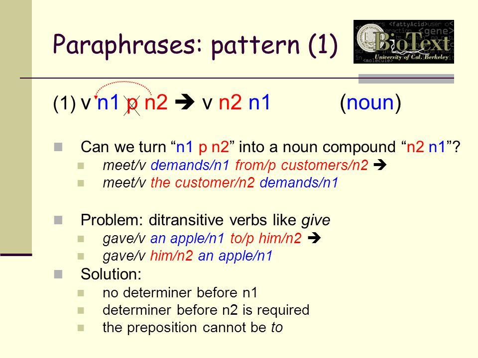 Paraphrases: pattern (1) (1) v n1 p n2  v n2 n1(noun) Can we turn n1 p n2 into a noun compound n2 n1 .