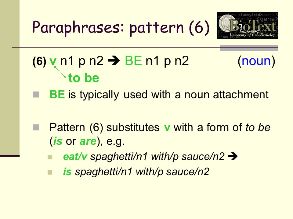 Paraphrases: pattern (6) (6) v n1 p n2  BE n1 p n2(noun) BE is typically used with a noun attachment Pattern (6) substitutes v with a form of to be (is or are), e.g.