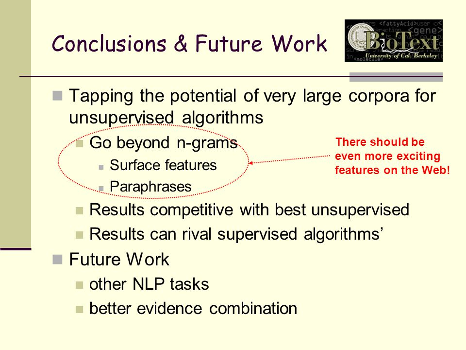 Conclusions & Future Work Tapping the potential of very large corpora for unsupervised algorithms Go beyond n-grams Surface features Paraphrases Results competitive with best unsupervised Results can rival supervised algorithms' Future Work other NLP tasks better evidence combination There should be even more exciting features on the Web!