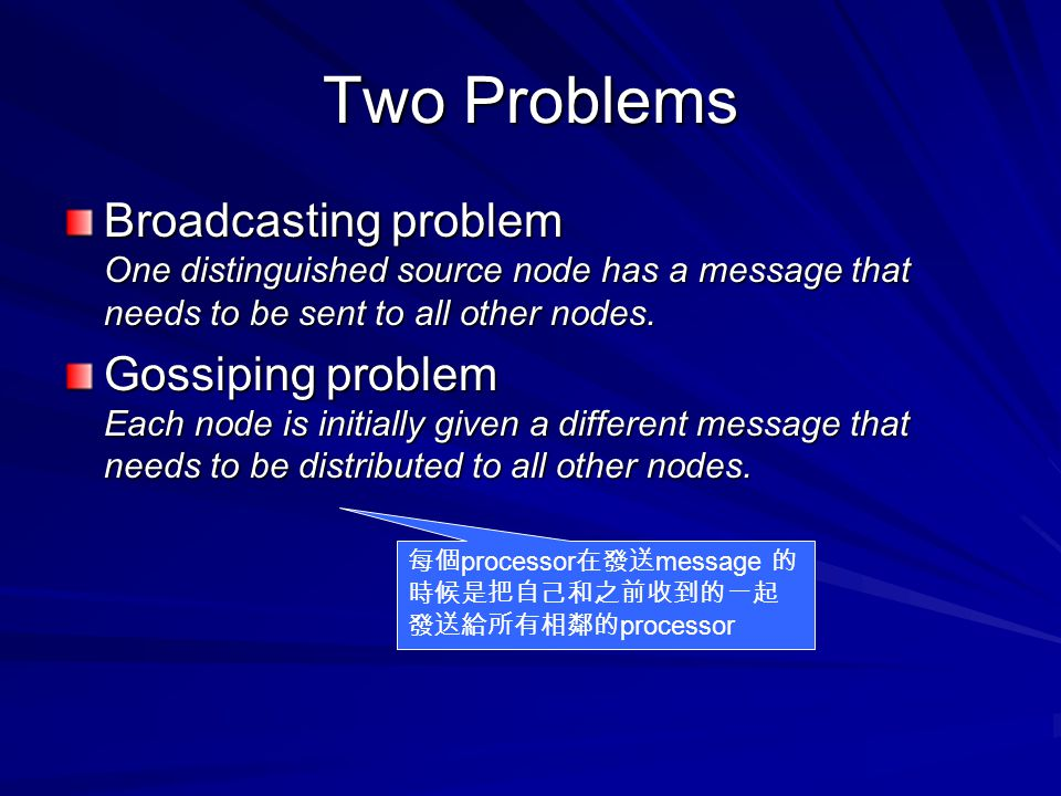 Two Problems Broadcasting problem One distinguished source node has a message that needs to be sent to all other nodes. Gossiping problem Each node is
