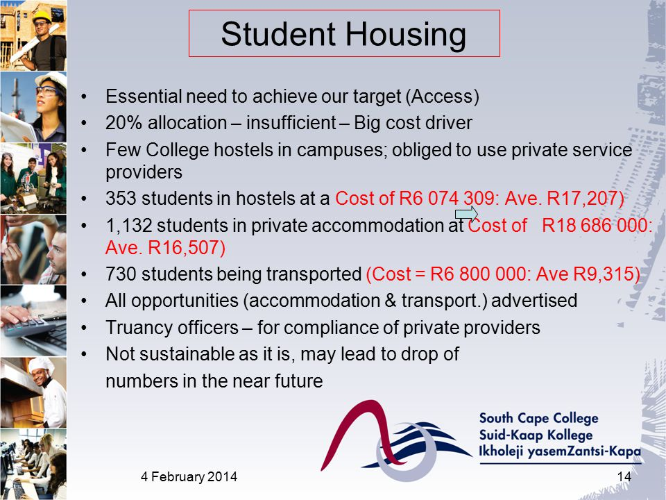 Essential need to achieve our target (Access) 20% allocation – insufficient – Big cost driver Few College hostels in campuses; obliged to use private service providers 353 students in hostels at a Cost of R6 074 309: Ave.