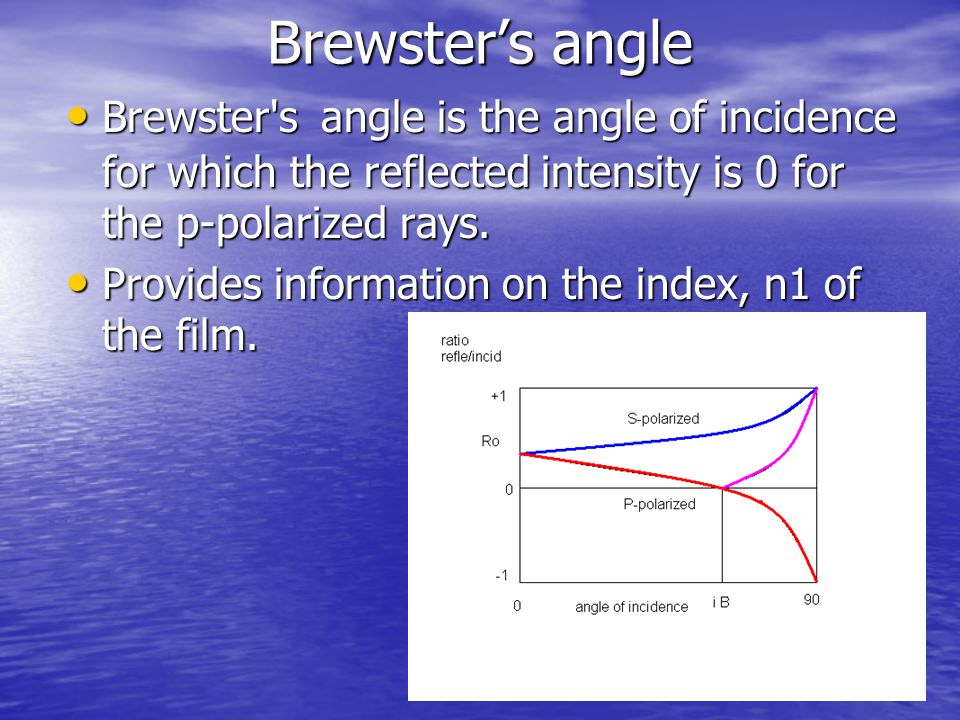 Brewster's angle Brewster's angle is the angle of incidence for which the reflected intensity is 0 for the p-polarized rays. Brewster's angle is the a