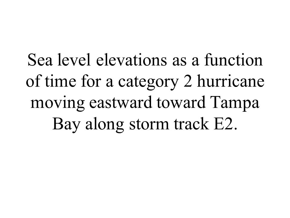 Sea level elevations as a function of time for a category 2 hurricane moving eastward toward Tampa Bay along storm track E2.