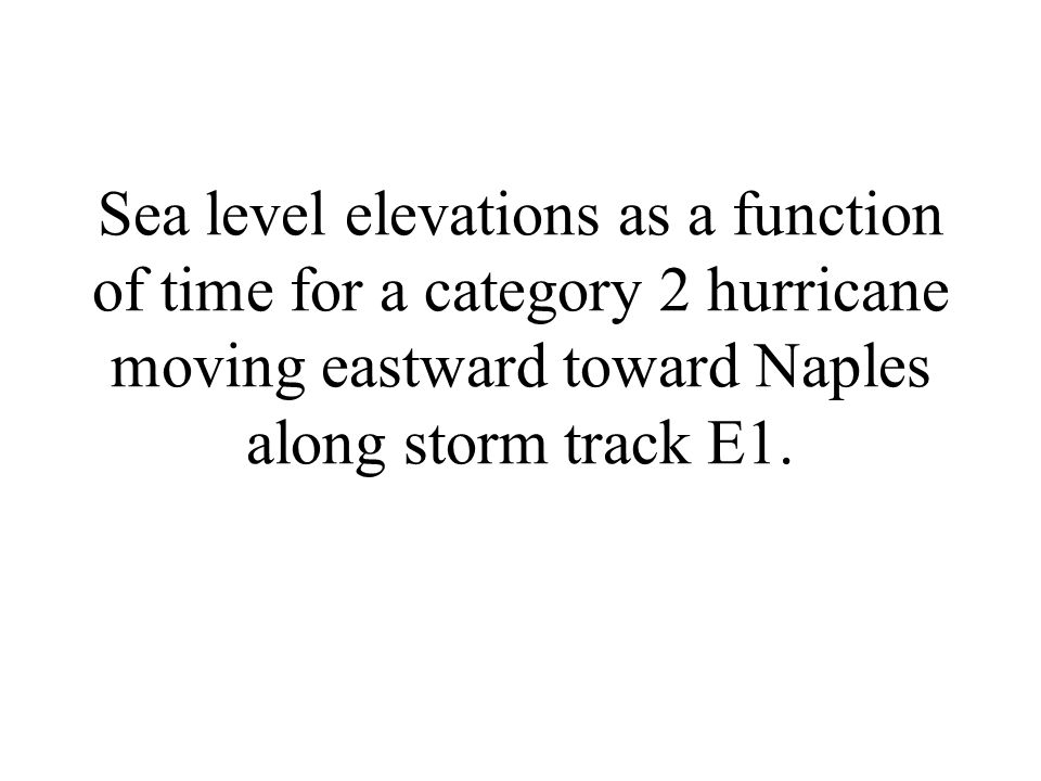 Sea level elevations as a function of time for a category 2 hurricane moving eastward toward Naples along storm track E1.
