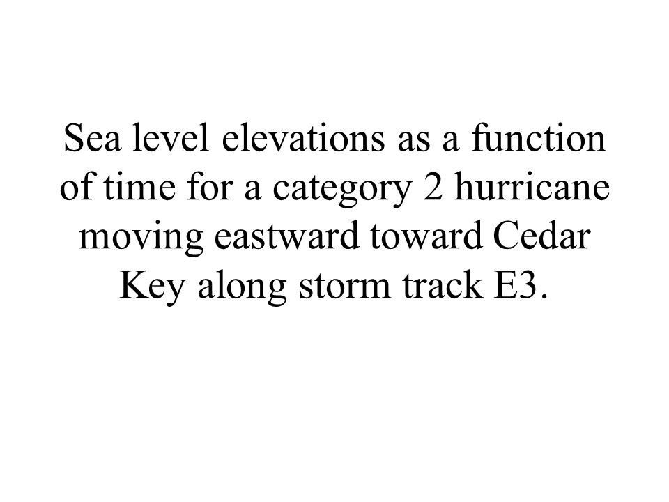 Sea level elevations as a function of time for a category 2 hurricane moving eastward toward Cedar Key along storm track E3.