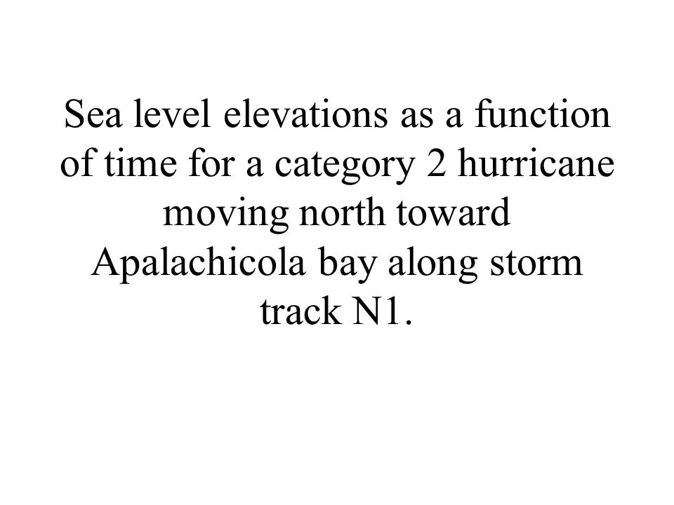 Sea level elevations as a function of time for a category 2 hurricane moving north toward Apalachicola bay along storm track N1.