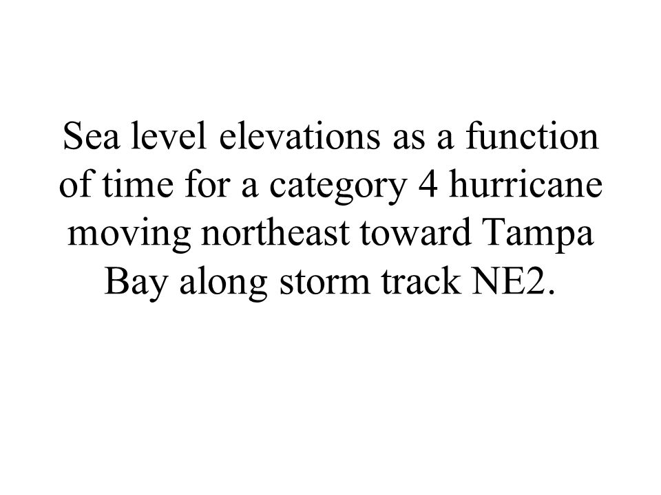 Sea level elevations as a function of time for a category 4 hurricane moving northeast toward Tampa Bay along storm track NE2.