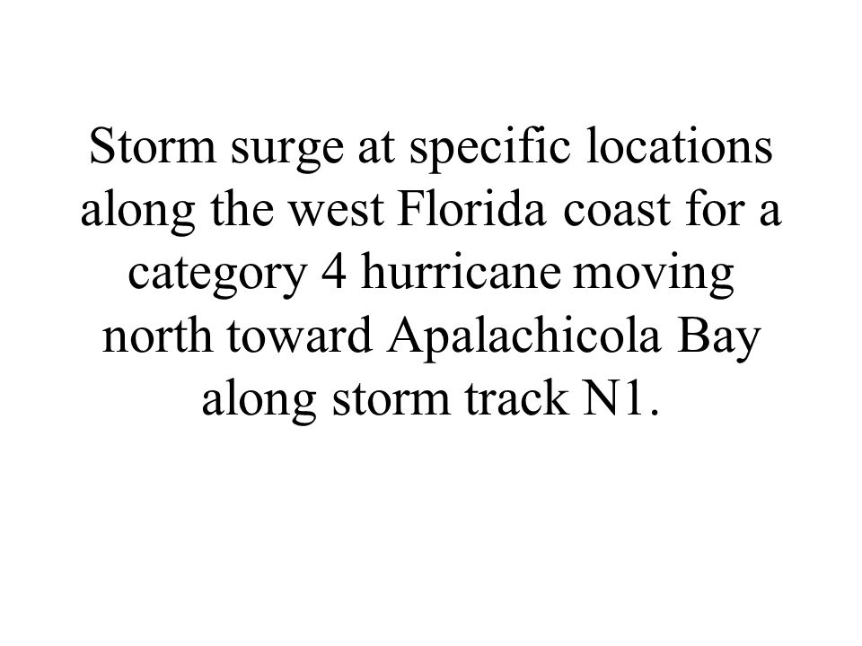 Storm surge at specific locations along the west Florida coast for a category 4 hurricane moving north toward Apalachicola Bay along storm track N1.