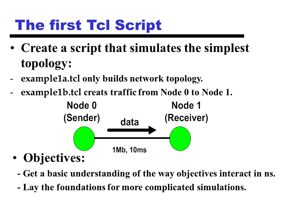The first Tcl Script Objectives: - Get a basic understanding of the way objectives interact in ns.