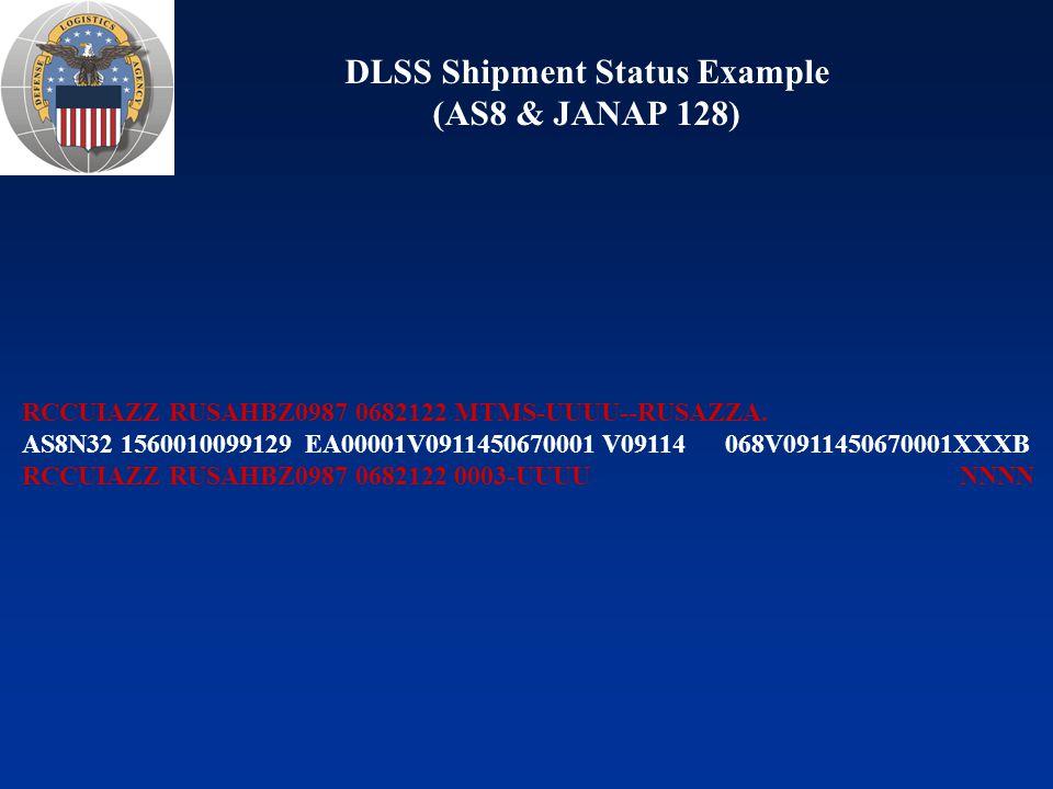 DSS DLMS / DLSS Transactions Inbound Outbound 140B = N/A 315B = N/A 527D = DU, DW, C2G, C2H, C3C 527R = DXA, DXB 650A = C2A, C2B, C2D 824R = DZG (and semantic rejects) 842A/R/W = CD4, S7A, W7A 846P = DJA, DZJ 846S = DZC 856 = PK5 856A = CBF, CDF, CDP, CDY 856S = AS8 870S = AB 888I = DZB 940R = A2, A5, AC, AF, AK, AM, CGU, ZGU 997 = N/A 140A = DSM 140B = N/A 511R = C01, C0A, CQ1, CQA 527R = BAY, C2J, C2K, C3D, D4, D6, DRA, DXC, DXD, DZK, Z6T 650C = C2F 824R = DZG 842A/R/W = CD5, S7A, W7A 846P = DZM 846R = DZH, DZN, DZP 846S = DZD 856A = TAV, TAW, CBF, CDF, CDP, CDY 856N = AD 856S = AS8, BAZ 861 = PKN, PKP 867I = D7, DZK 870S = AE3 888A = DSA 888B = N/A 945A = A6, AE6, AEJ, AG, AR, ASZ, AU 947I = D8, D9, DAC, DZK