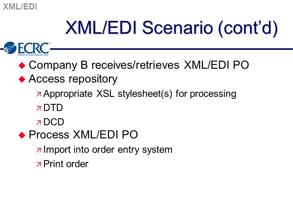 XML/EDI XML/EDI Scenario (cont'd) u Company B receives/retrieves XML/EDI PO u Access repository ä Appropriate XSL stylesheet(s) for processing ä DTD ä DCD u Process XML/EDI PO ä Import into order entry system ä Print order
