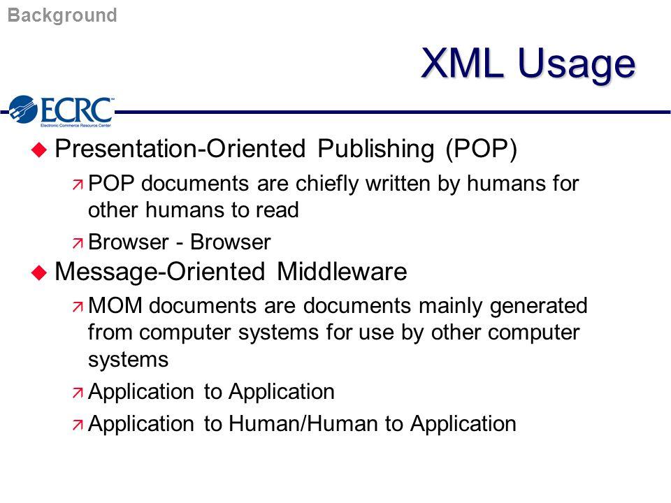 XML/EDI Initiatives XML/EDI Players u ANSI ASC X12 u UN/EDIFACT u XML/EDI Group u CommerceNet u W3C u Graphics Communications Association (GCA) u Software Vendors