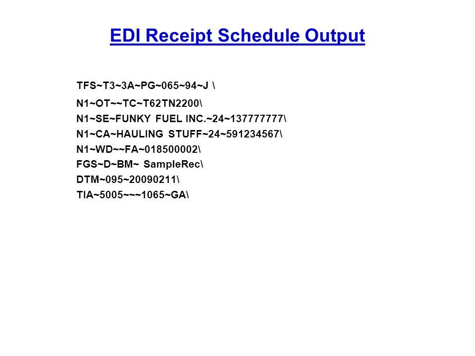 EDI Receipt Schedule Output TFS~T3~3A~PG~065~94~J \ N1~OT~~TC~T62TN2200\ N1~SE~FUNKY FUEL INC.~24~137777777\ N1~CA~HAULING STUFF~24~591234567\ N1~WD~~