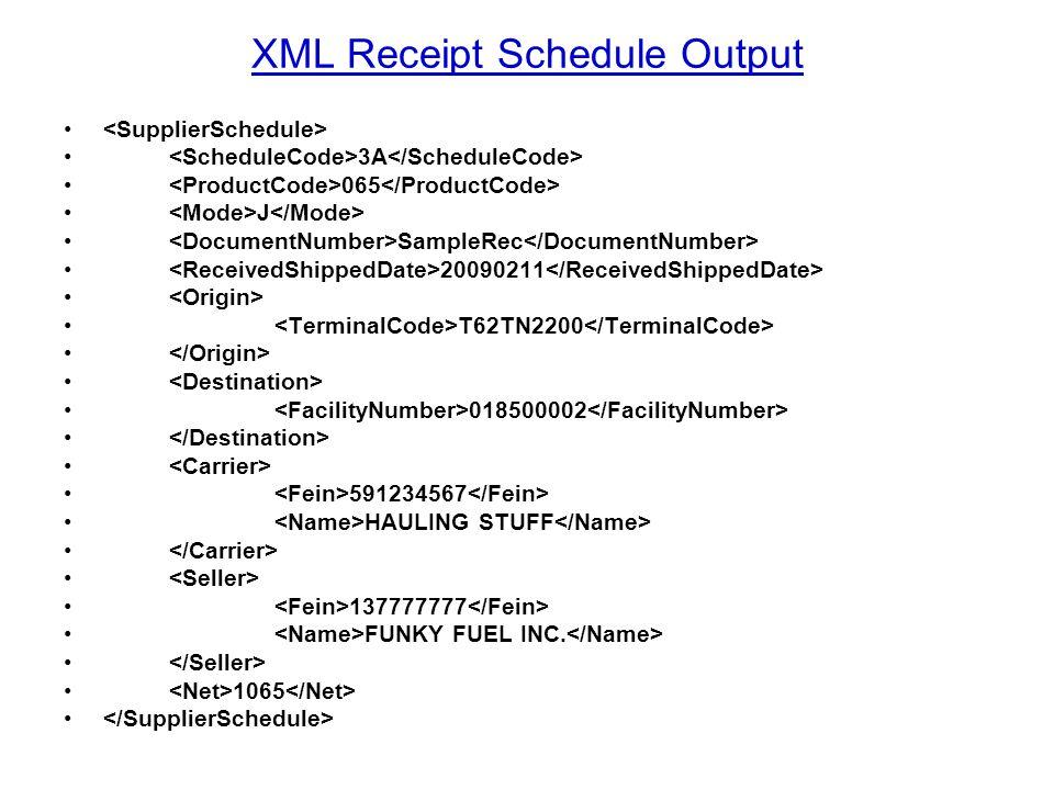 XML Receipt Schedule Output 3A 065 J SampleRec 20090211 T62TN2200 018500002 591234567 HAULING STUFF 137777777 FUNKY FUEL INC. 1065