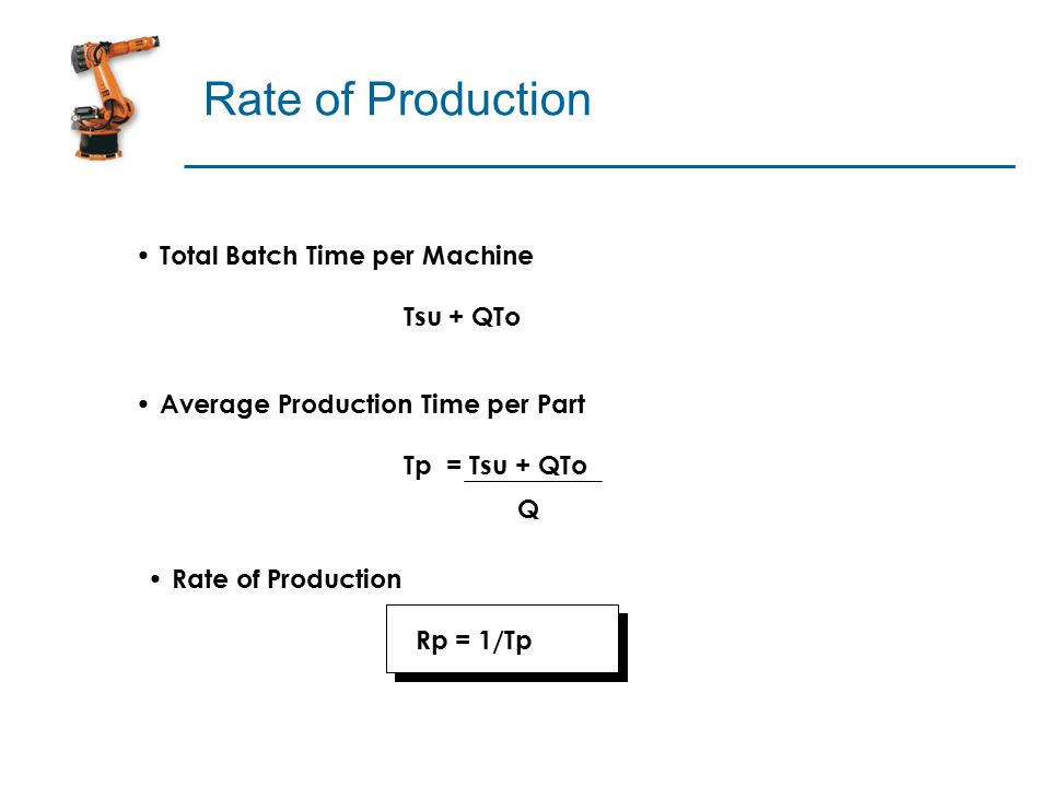 Rate of Production Total Batch Time per Machine Tsu + QTo Average Production Time per Part Tp = Tsu + QTo Q Rate of Production Rp = 1/Tp