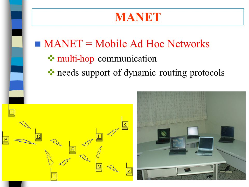 tseng:11 MANET MANET = Mobile Ad Hoc Networks  multi-hop communication  needs support of dynamic routing protocols