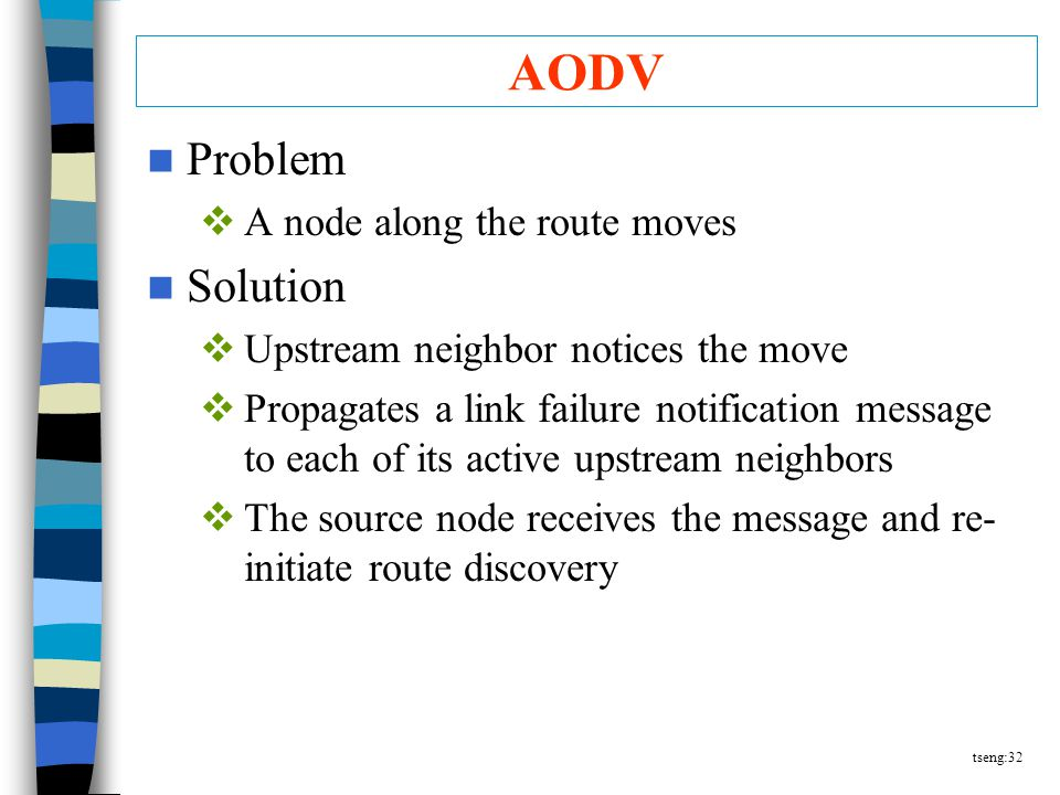 tseng:32 AODV Problem  A node along the route moves Solution  Upstream neighbor notices the move  Propagates a link failure notification message to each of its active upstream neighbors  The source node receives the message and re- initiate route discovery