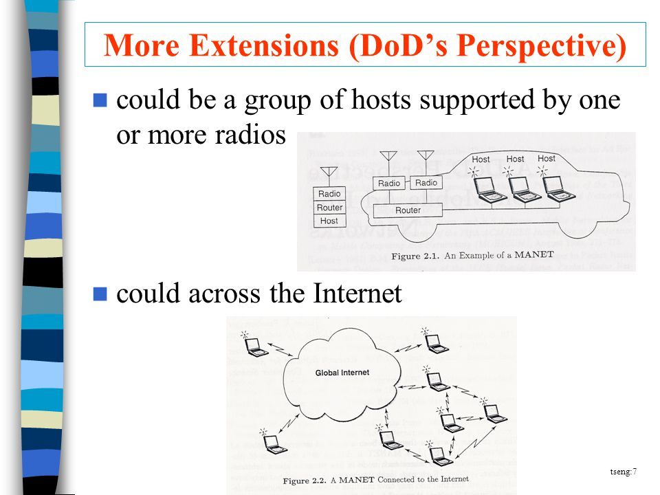 tseng:7 More Extensions (DoD's Perspective) could be a group of hosts supported by one or more radios could across the Internet