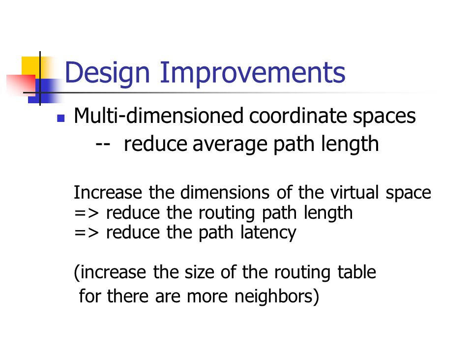 Design Improvements Multi-dimensioned coordinate spaces -- reduce average path length Increase the dimensions of the virtual space => reduce the routing path length => reduce the path latency (increase the size of the routing table for there are more neighbors)