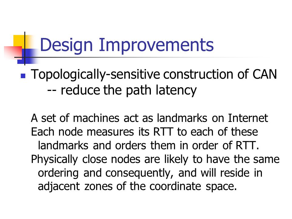 Design Improvements Topologically-sensitive construction of CAN -- reduce the path latency A set of machines act as landmarks on Internet Each node measures its RTT to each of these landmarks and orders them in order of RTT.