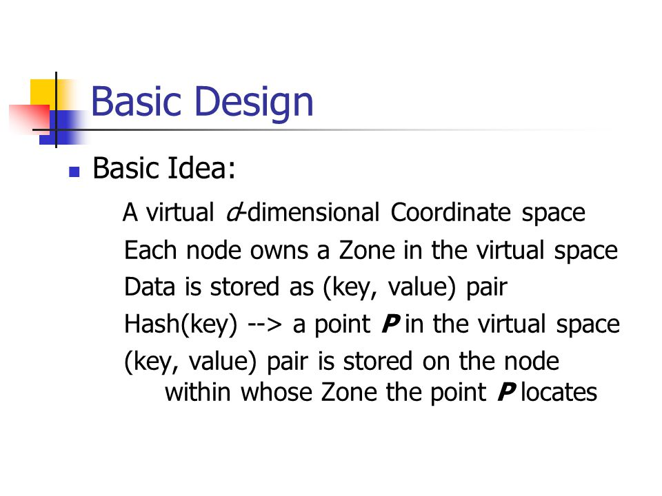 Basic Design Basic Idea: A virtual d-dimensional Coordinate space Each node owns a Zone in the virtual space Data is stored as (key, value) pair Hash(key) --> a point P in the virtual space (key, value) pair is stored on the node within whose Zone the point P locates