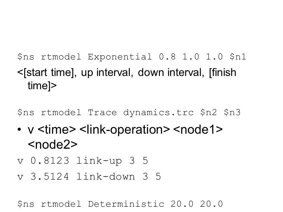 $ns rtmodel Exponential 0.8 1.0 1.0 $n1 $ns rtmodel Trace dynamics.trc $n2 $n3 v v 0.8123 link-up 3 5 v 3.5124 link-down 3 5 $ns rtmodel Deterministic 20.0 20.0 $node(1) $node(5)