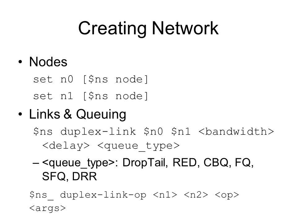 Computing routes Unicast –$ns rtproto – : Static, Session, DV, Manual $ns rtproto Static $ns rtproto Session $ns rtproto DV $n1 $n2 $n3 $ns rtproto LS $n1 $n2