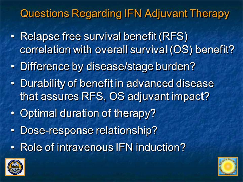 EORTC 18991: Stage III N1, Ulcerated Disease Greatest benefit of Peg IFN in Stage III N1 subset, ulcerated primary –Median OS peg IFN vs.