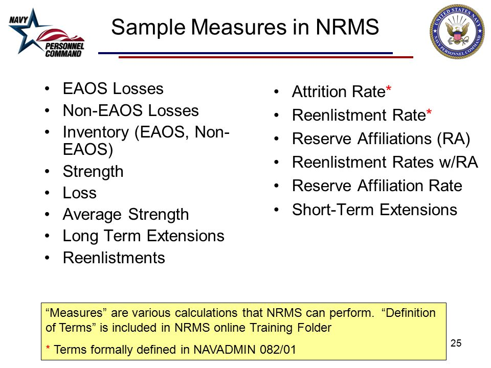 25 Sample Measures in NRMS EAOS Losses Non-EAOS Losses Inventory (EAOS, Non- EAOS) Strength Loss Average Strength Long Term Extensions Reenlistments Attrition Rate* Reenlistment Rate* Reserve Affiliations (RA) Reenlistment Rates w/RA Reserve Affiliation Rate Short-Term Extensions Measures are various calculations that NRMS can perform.