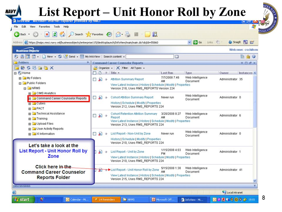 8 List Report – Unit Honor Roll by Zone